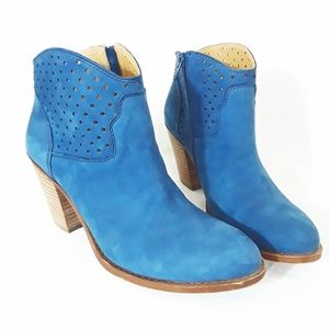 Lucky Brand Blue Suede Stacked Heel Bootie 8.5